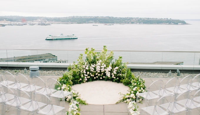 wedding setup overlooking the water