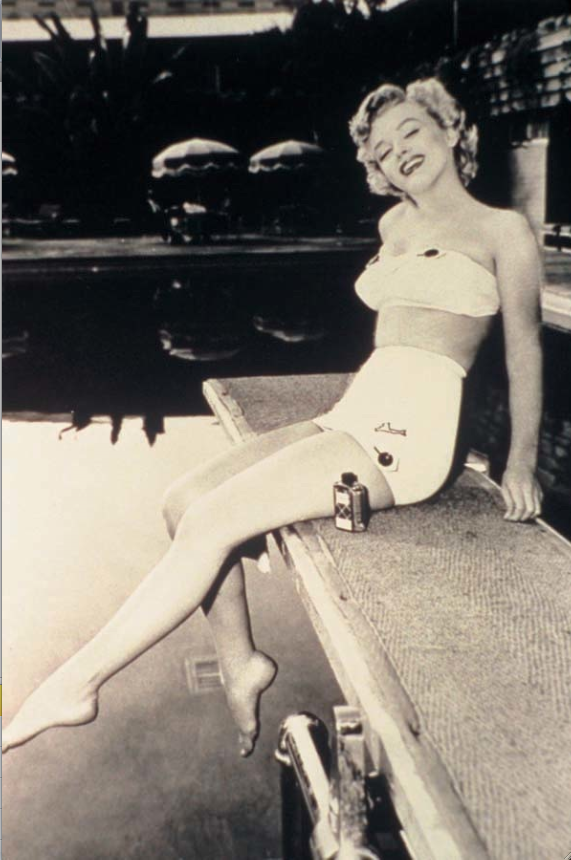 Marilyn Monroe, poolside at the Hollywood Roosevelt; the icon lived at the hotel  as her modeling career took off.