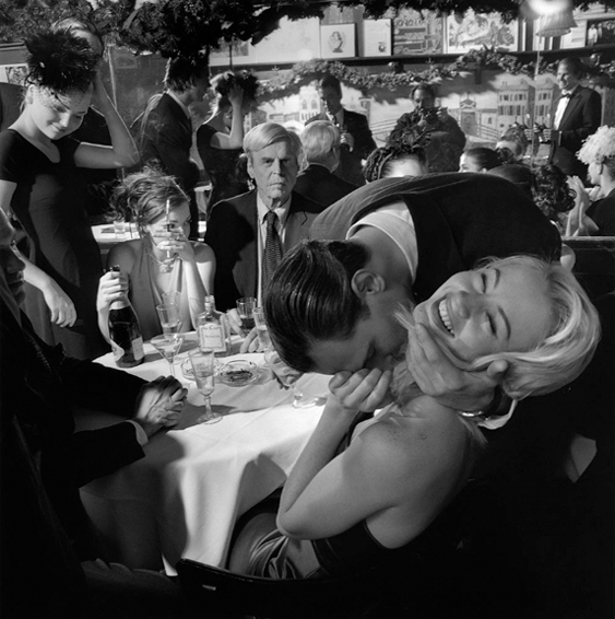 George Plimpton, Jared Paul Stern, and Cameron Richardson, Elaine's, New York City, 1999, Larry Fink