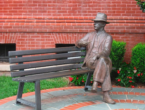 A statue of William Faulkner on Oxford's Town Square.