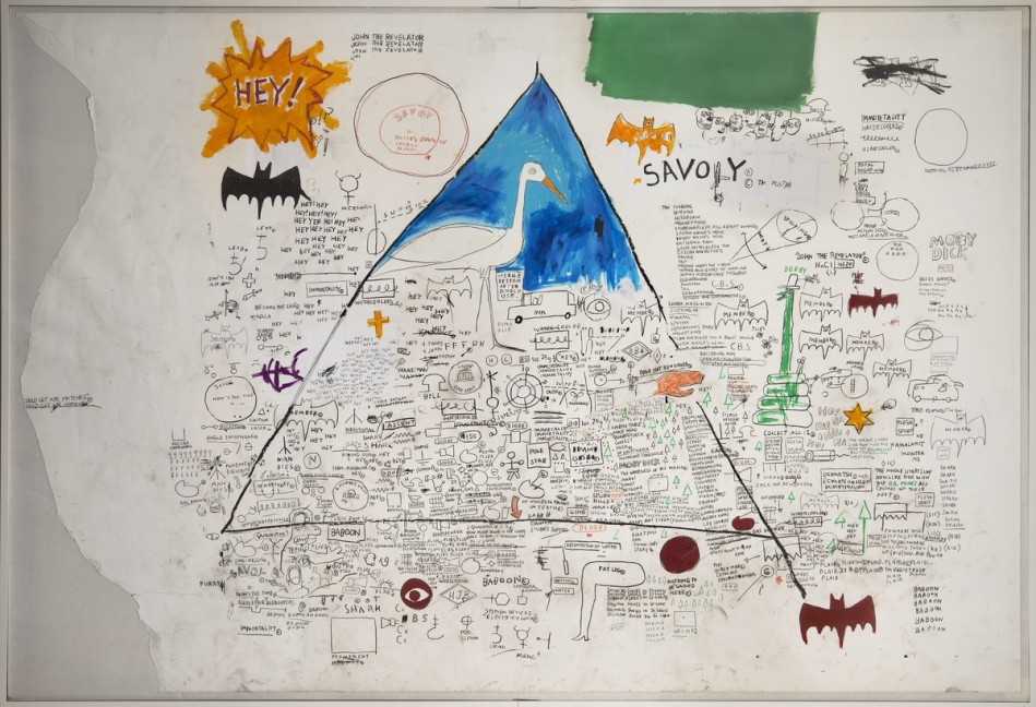 Jean-Michel Basquiat (American, 1960–1988). Untitled, 1986. Acrylic, collage, and oilstick on paper on canvas, 94 1/8 x 136 2/5 in. (239 x 346.5 cm). Collection of Larry Warsh. Copyright © Estate of Jean-Michel Basquiat, all rights reserved. Licensed by Artestar, New York. Photo: Gavin Ashworth, Brooklyn Museum