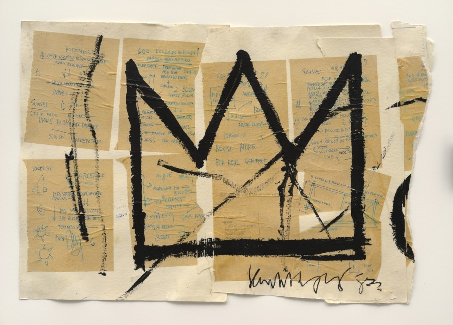 Jean-Michel Basquiat (American, 1960–1988). Untitled(Crown), 1982. Acrylic, ink, and paper collage on paper, 20 x 29 in. (50.8 x 73.66 cm). Private collection, courtesy of Lio Malca. Copyright © Estate of Jean-Michel Basquiat, all rights reserved. Licensed by Artestar, New York. Photo: Mark-Woods.com