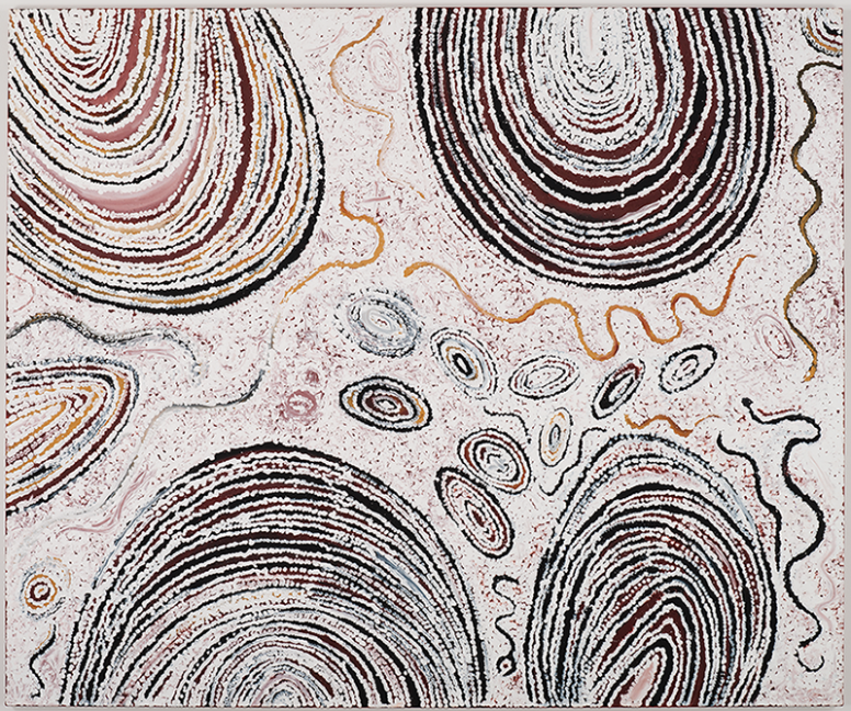 Billy Joongoora Thomas, Gunambalayi—Travels of the Black Snake, 2004 Natural earth pigments and synthetic binder on canvas. 59 1:16 x 70 7:8 inches.