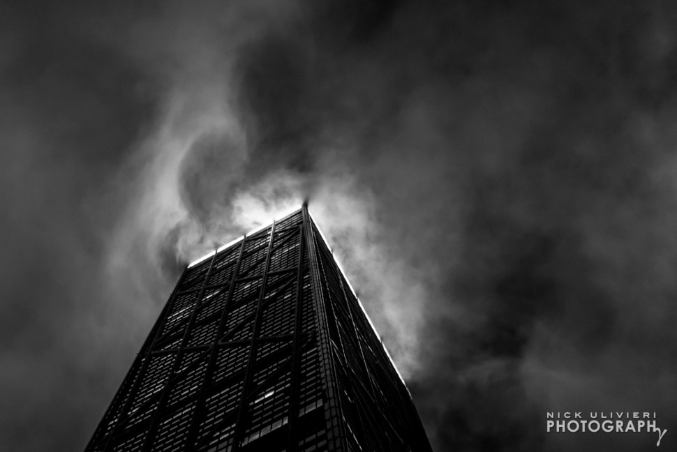 Swirling fog over the Hancock Building, Nick Ulivieri