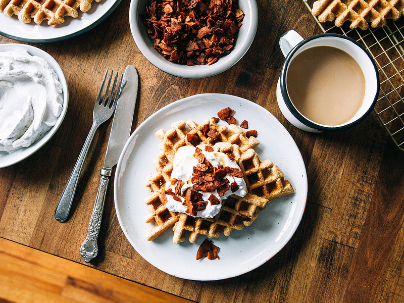 Maple Waffles with the Works, Inspired by Toronto