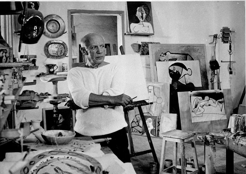 Picasso in his studio in Vallauris, France, on October 23, 1953. Courtesy Associated Press