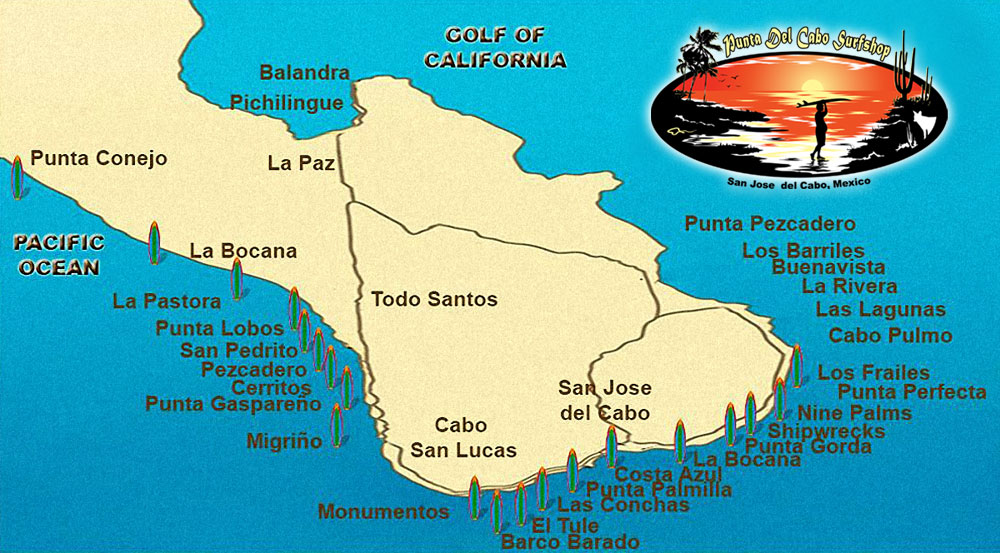 Surf Spots Map courtesy del Cabo Surf Shop